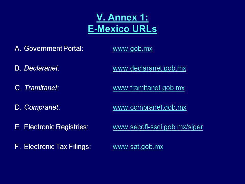 V. Annex 1: E-Mexico URLs A. Government Portal: