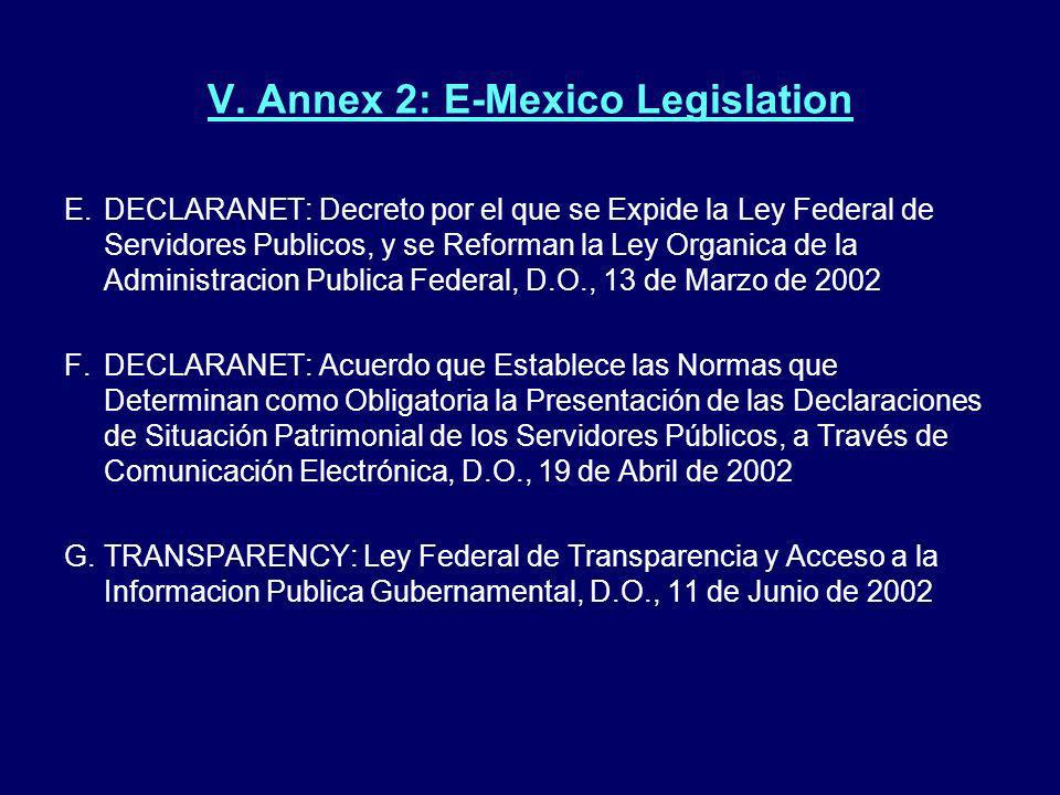 V. Annex 2: E-Mexico Legislation
