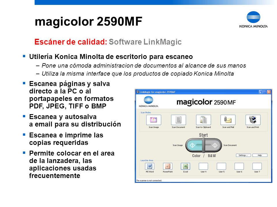magicolor 2590MF Escáner de calidad: Software LinkMagic