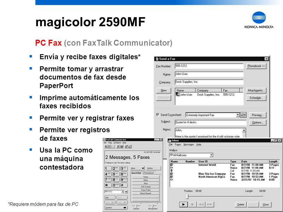 magicolor 2590MF PC Fax (con FaxTalk Communicator)