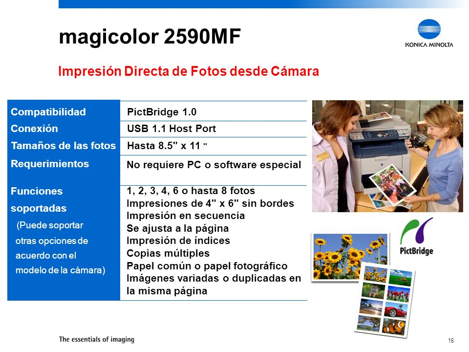 magicolor 2590MF Impresión Directa de Fotos desde Cámara