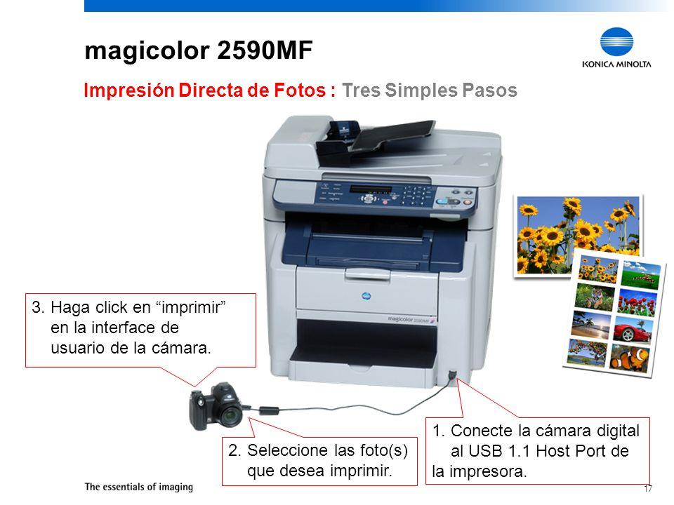 magicolor 2590MF Impresión Directa de Fotos : Tres Simples Pasos