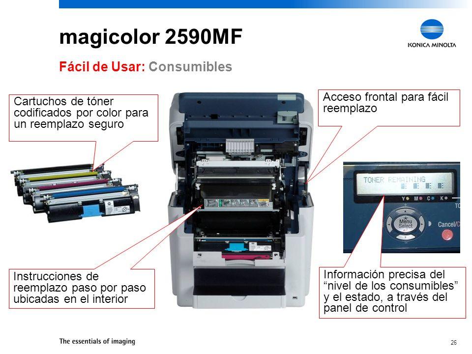 magicolor 2590MF Fácil de Usar: Consumibles