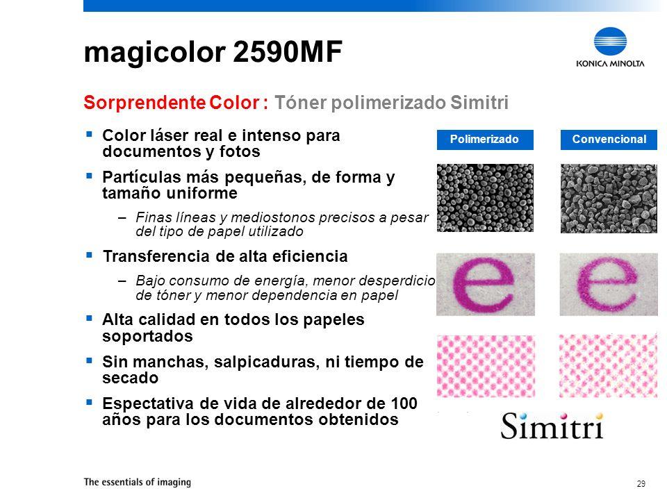 magicolor 2590MF Sorprendente Color : Tóner polimerizado Simitri