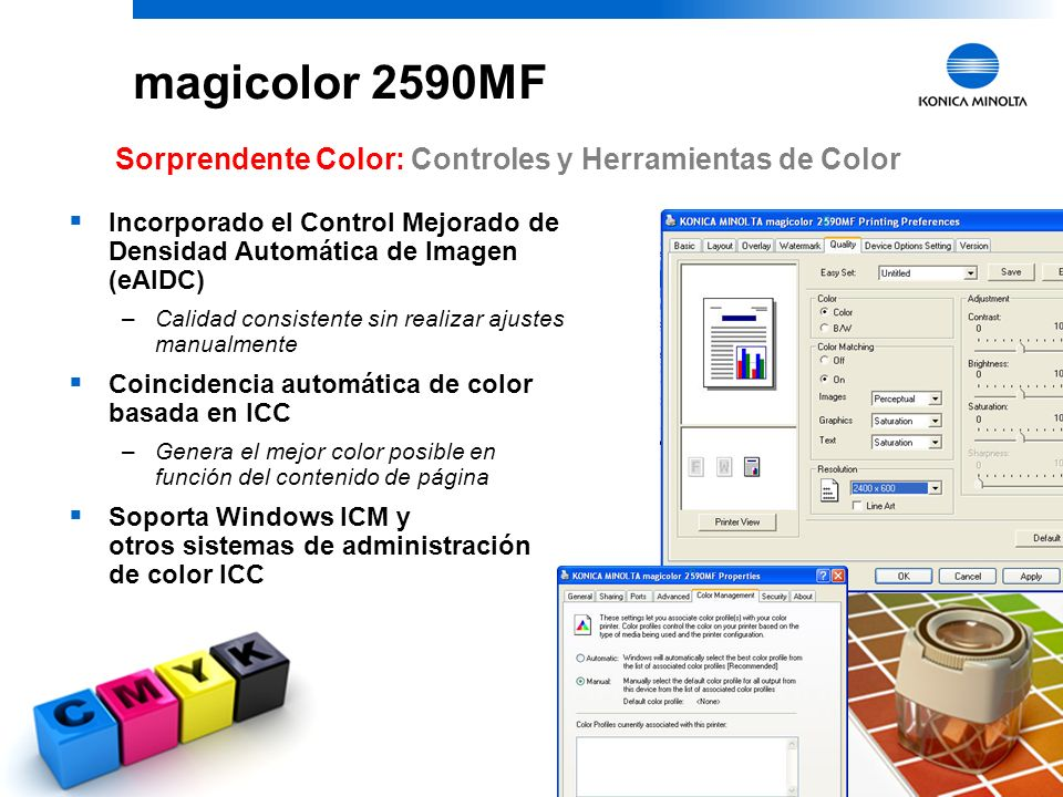 magicolor 2590MF Sorprendente Color: Controles y Herramientas de Color