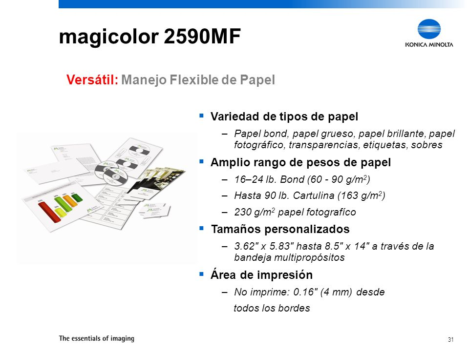 magicolor 2590MF Versátil: Manejo Flexible de Papel