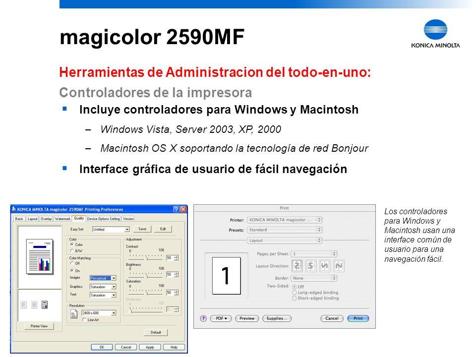 magicolor 2590MF Herramientas de Administracion del todo-en-uno: