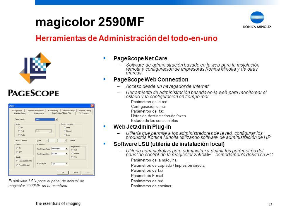 magicolor 2590MF Herramientas de Administración del todo-en-uno