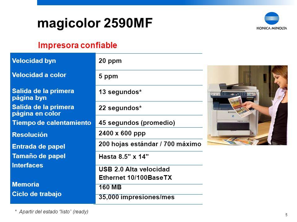 magicolor 2590MF Impresora confiable 20 ppm Velocidad byn 5 ppm