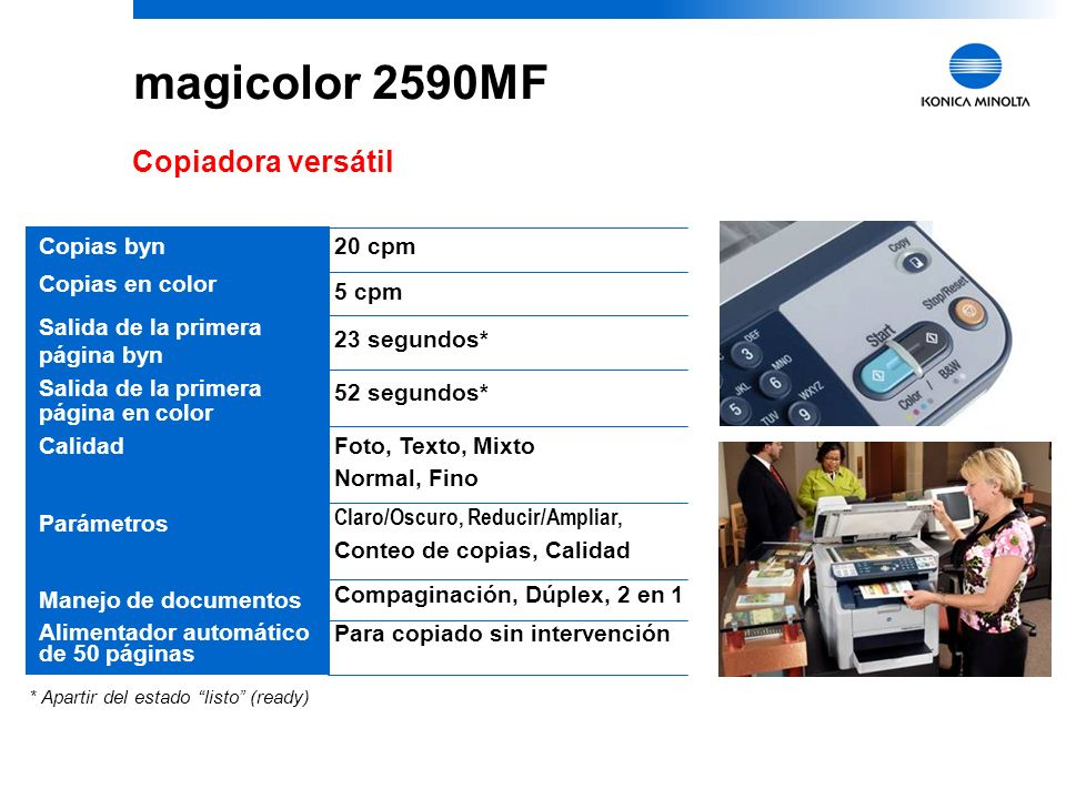 magicolor 2590MF Copiadora versátil Copias byn Copias en color