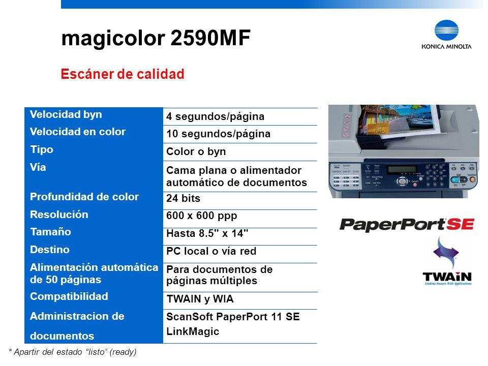 magicolor 2590MF Escáner de calidad Velocidad byn 4 segundos/página