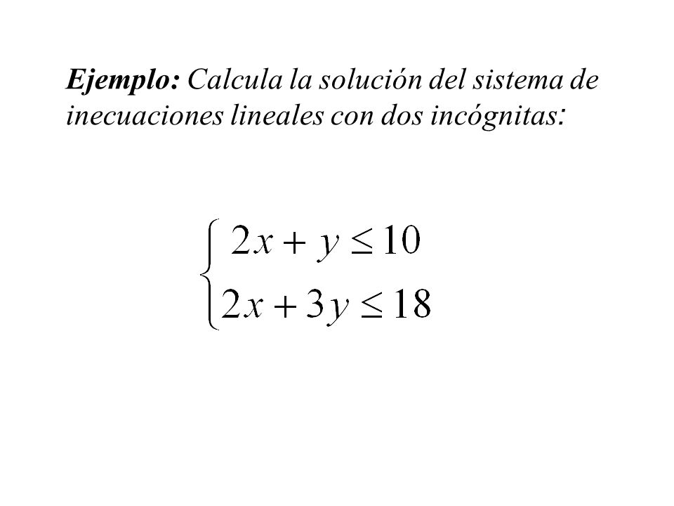 Ejemplo: Calcula la solución del sistema de inecuaciones lineales con dos incógnitas: