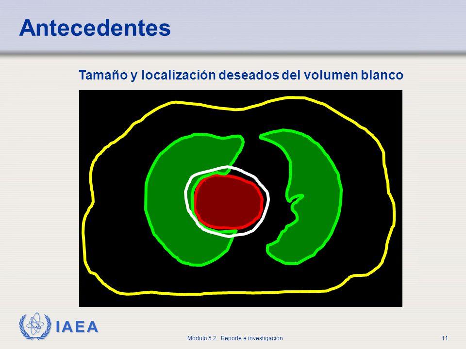 Antecedentes Tamaño y localización deseados del volumen blanco