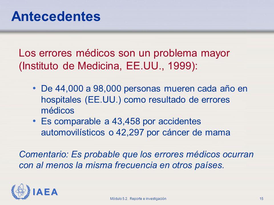 Antecedentes Los errores médicos son un problema mayor (Instituto de Medicina, EE.UU., 1999):