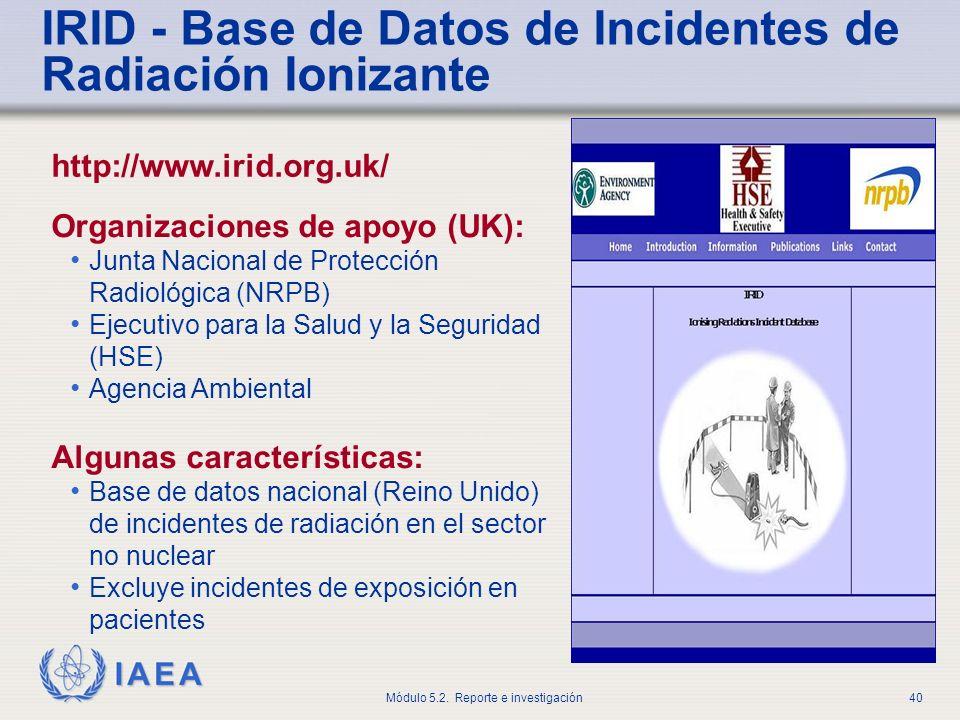 IRID - Base de Datos de Incidentes de Radiación Ionizante