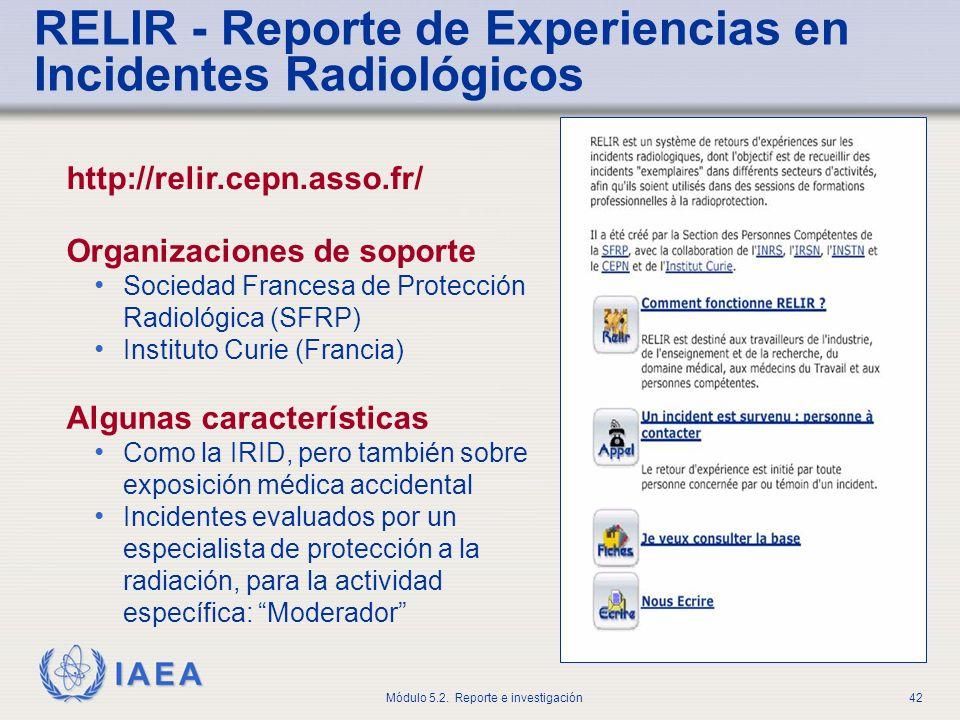 RELIR - Reporte de Experiencias en Incidentes Radiológicos