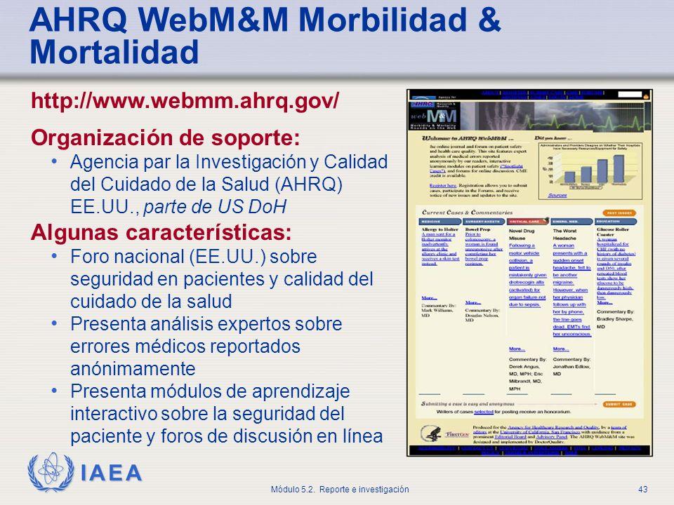 AHRQ WebM&M Morbilidad & Mortalidad