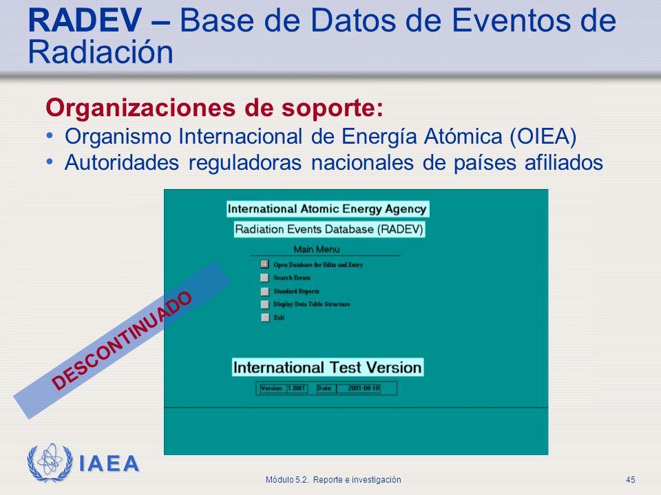 RADEV – Base de Datos de Eventos de Radiación