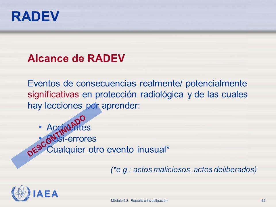 RADEV Alcance de RADEV.