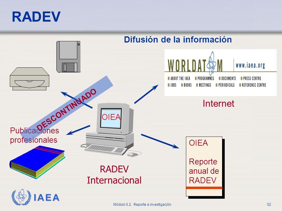 RADEV Internet RADEV Internacional Difusión de la información