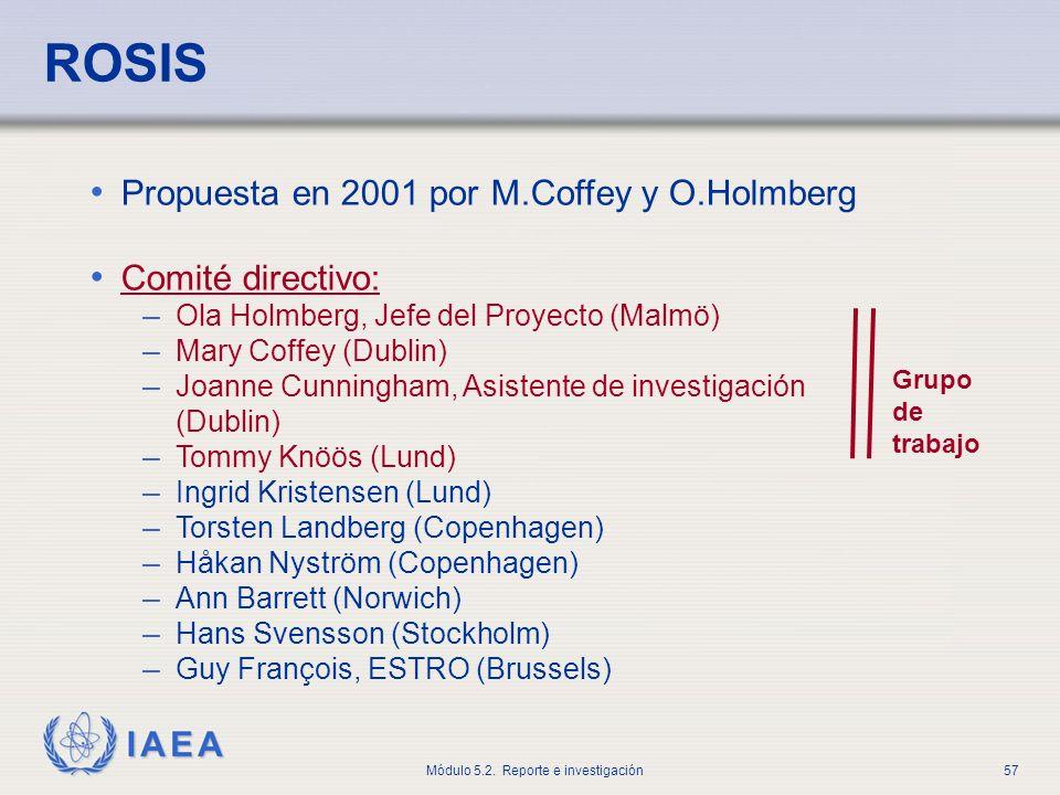 ROSIS Propuesta en 2001 por M.Coffey y O.Holmberg Comité directivo: