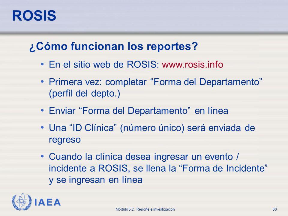 ROSIS ¿Cómo funcionan los reportes