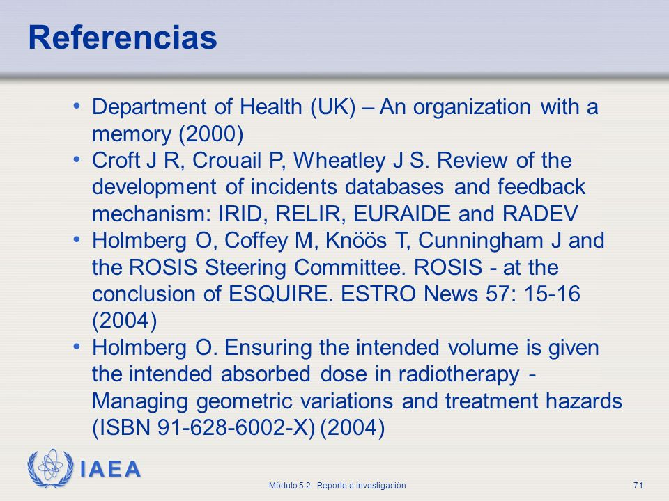 Referencias Department of Health (UK) – An organization with a memory (2000)