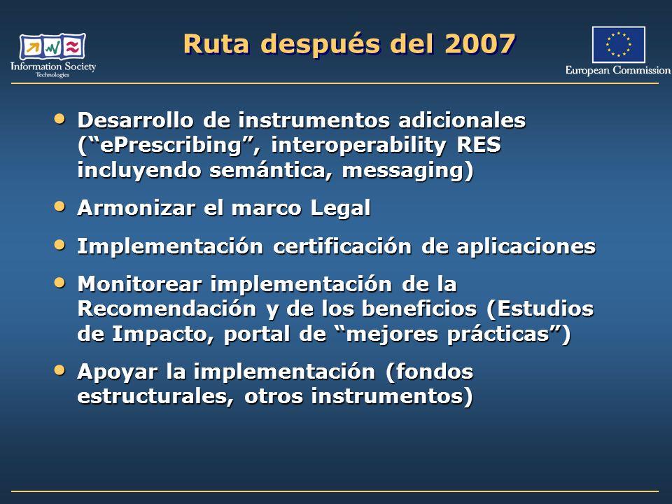 Ruta después del 2007Desarrollo de instrumentos adicionales ( ePrescribing , interoperability RES incluyendo semántica, messaging)