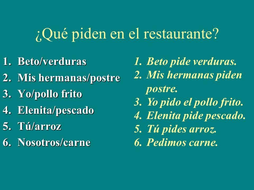 ¿Qué piden en el restaurante