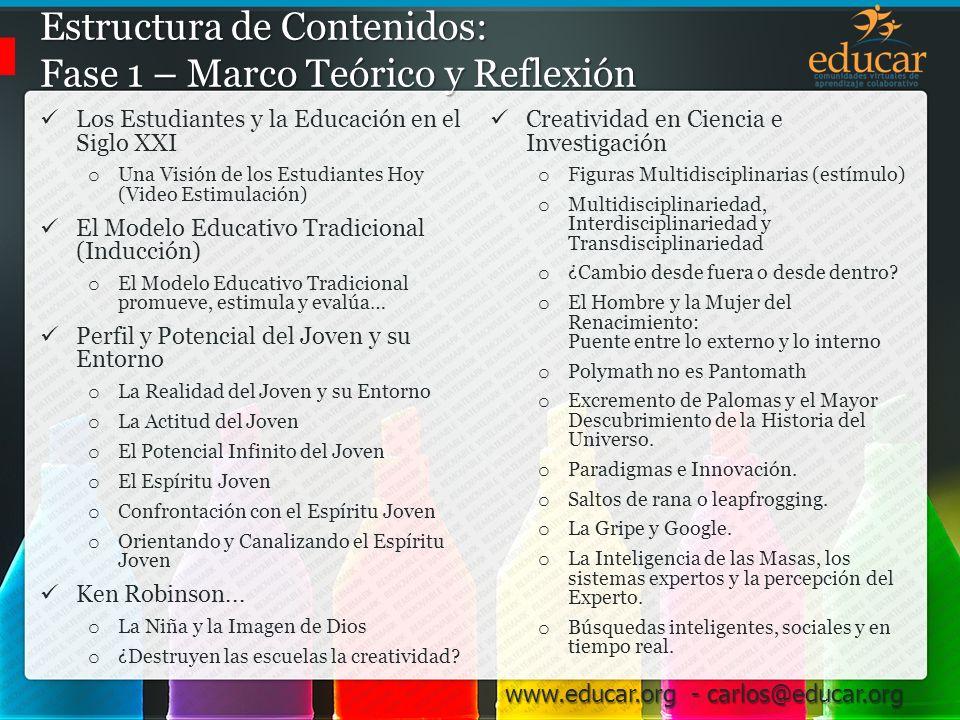 Estructura de Contenidos: Fase 1 – Marco Teórico y Reflexión