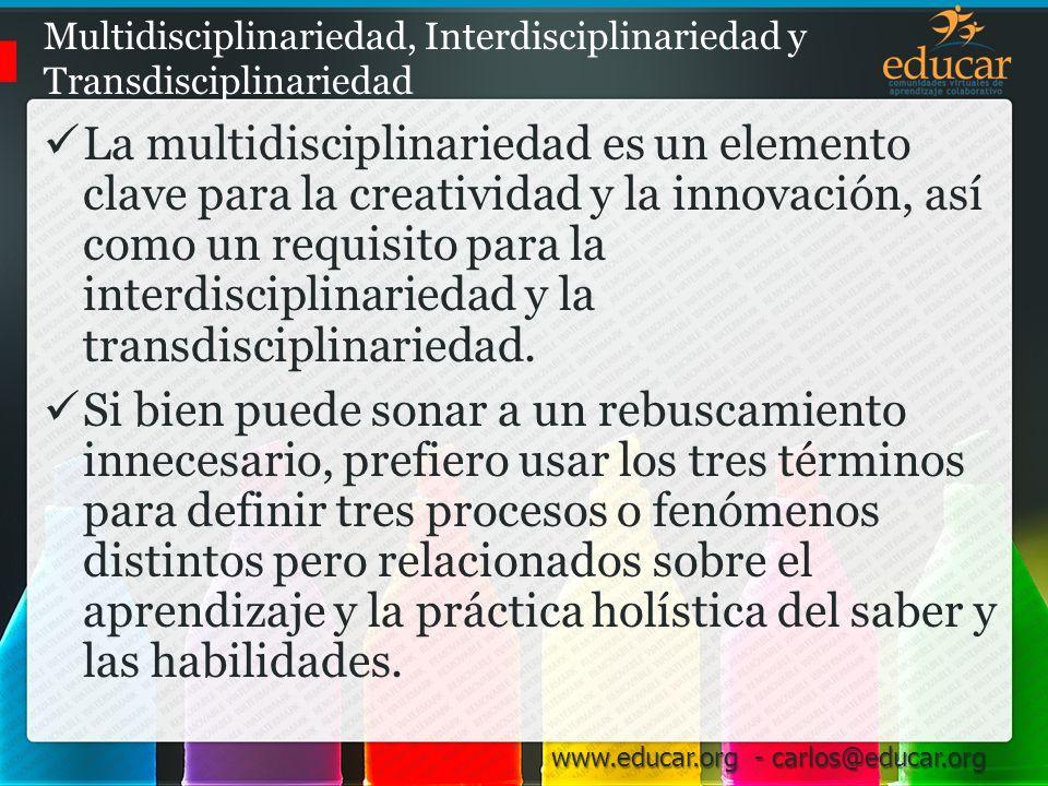 Multidisciplinariedad, Interdisciplinariedad y Transdisciplinariedad