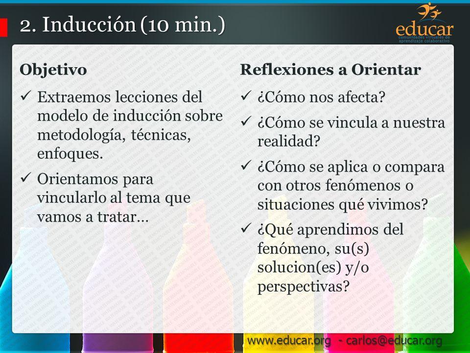 2. Inducción (10 min.) Objetivo Reflexiones a Orientar
