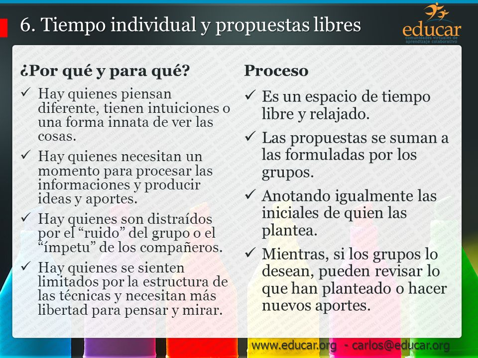 6. Tiempo individual y propuestas libres