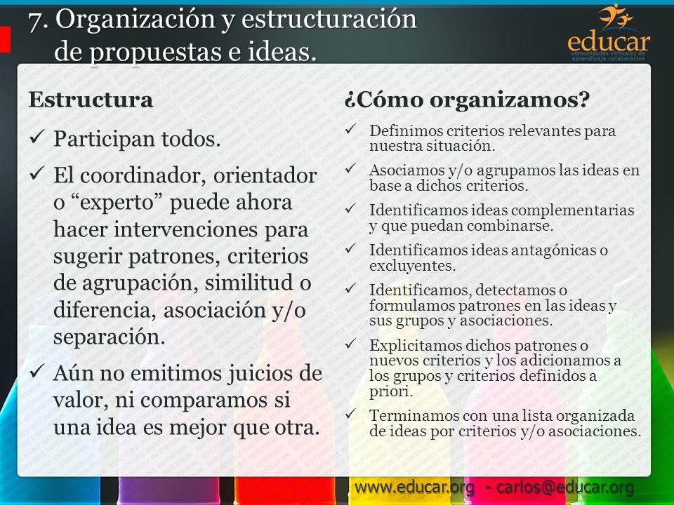 7. Organización y estructuración de propuestas e ideas.