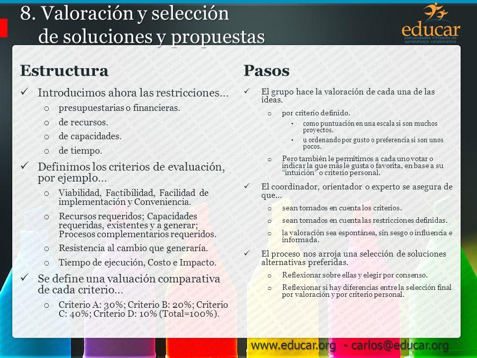 8. Valoración y selección de soluciones y propuestas