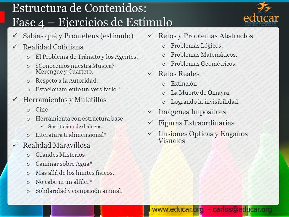 Estructura de Contenidos: Fase 4 – Ejercicios de Estímulo
