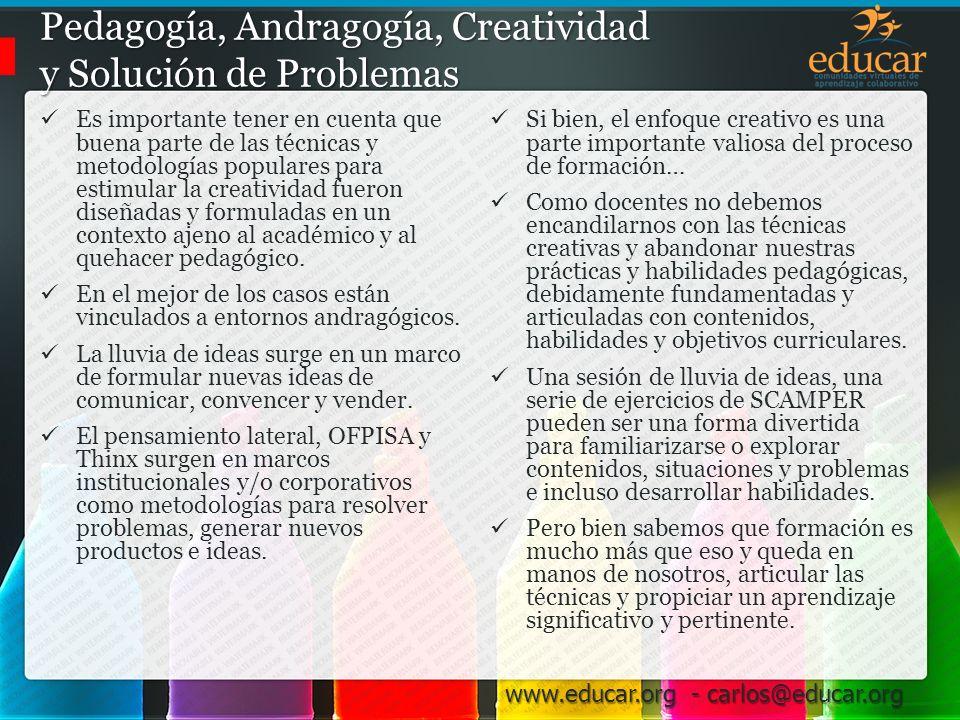 Pedagogía, Andragogía, Creatividad y Solución de Problemas