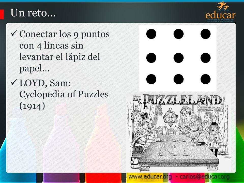 Un reto… Conectar los 9 puntos con 4 líneas sin levantar el lápiz del papel… LOYD, Sam: Cyclopedia of Puzzles (1914)