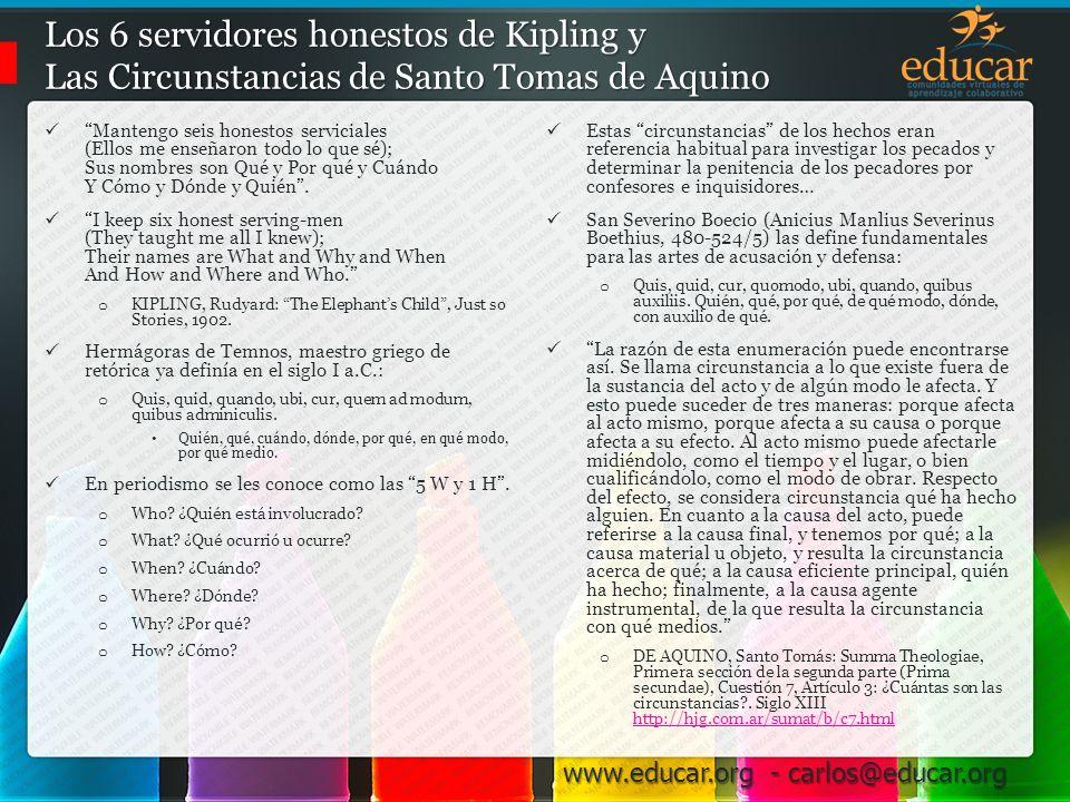 Los 6 servidores honestos de Kipling y Las Circunstancias de Santo Tomas de Aquino