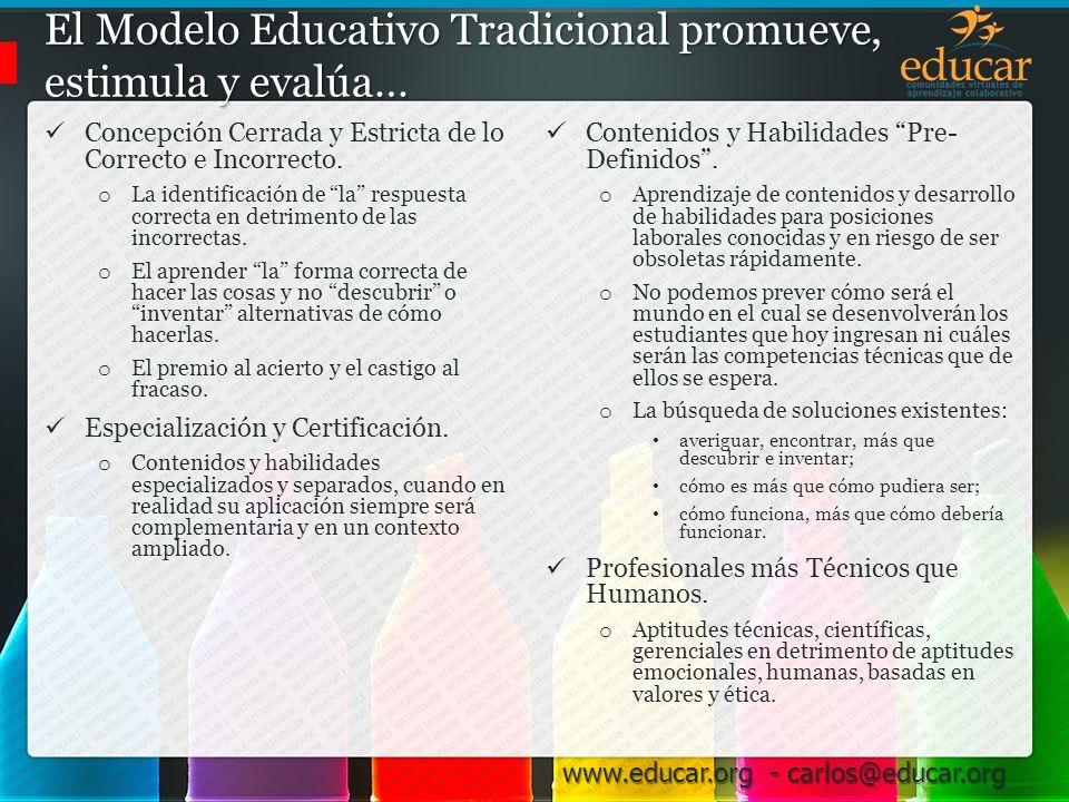 El Modelo Educativo Tradicional promueve, estimula y evalúa…