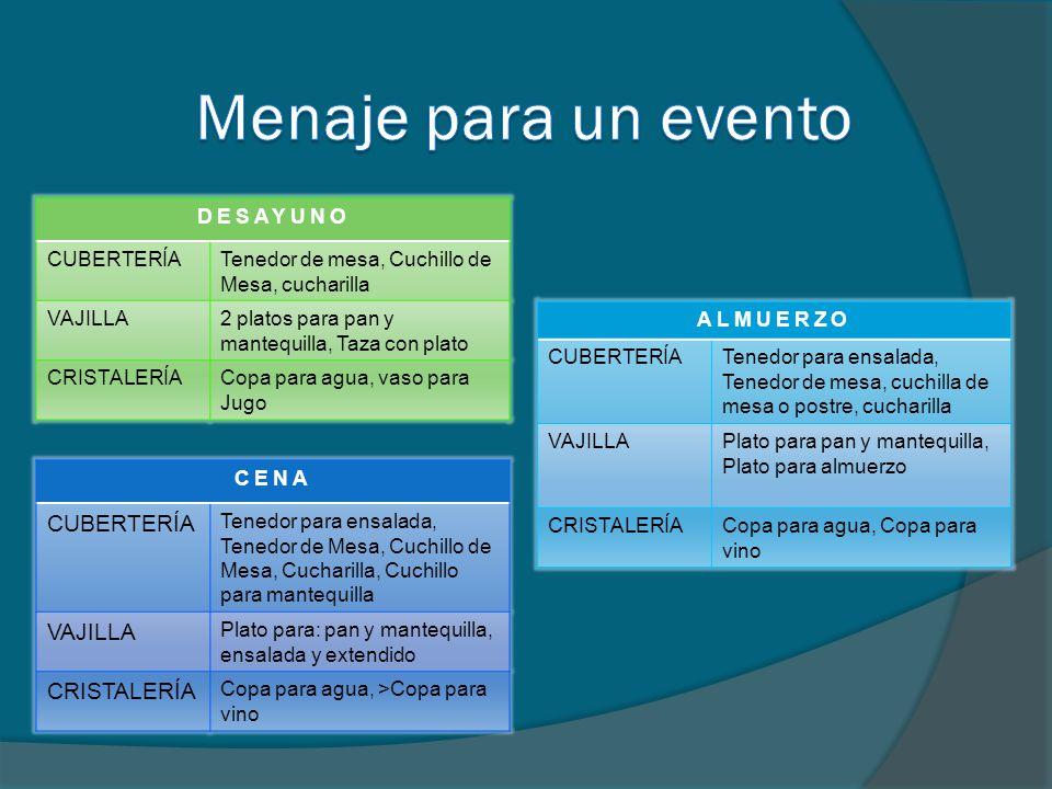 Menaje para un evento CUBERTERÍA VAJILLA CRISTALERÍA DESAYUNO