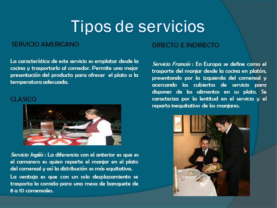 Comportamiento en la mesa ppt video online descargar for Tipos de servicios de un hotel