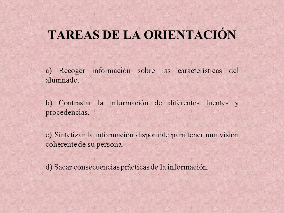 TAREAS DE LA ORIENTACIÓN