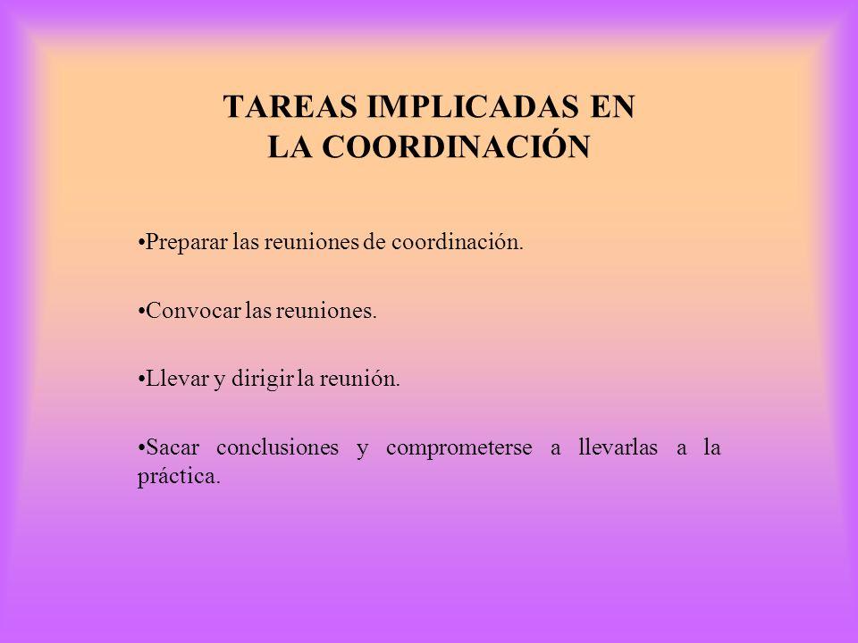 TAREAS IMPLICADAS EN LA COORDINACIÓN
