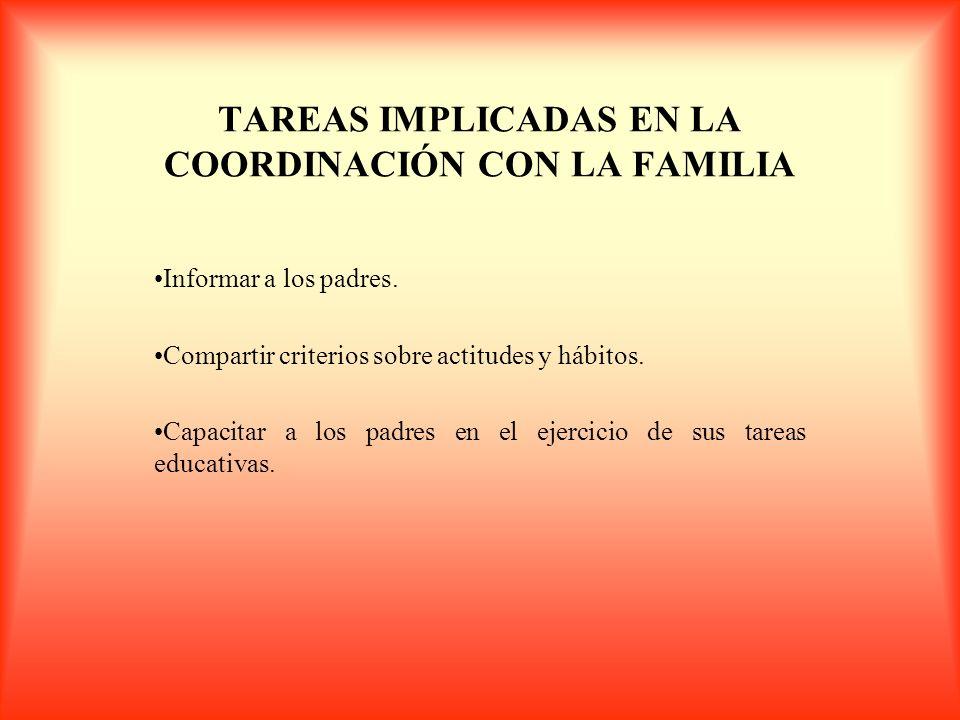 TAREAS IMPLICADAS EN LA COORDINACIÓN CON LA FAMILIA