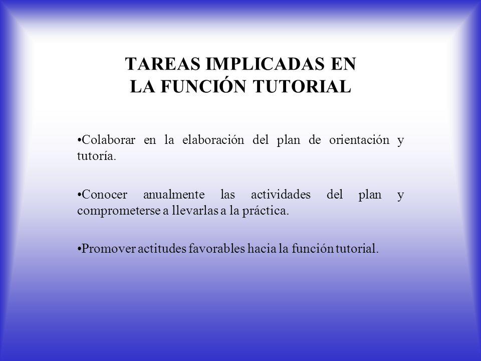 TAREAS IMPLICADAS EN LA FUNCIÓN TUTORIAL