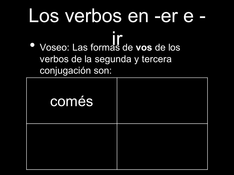 Los verbos en -er e -ir comés