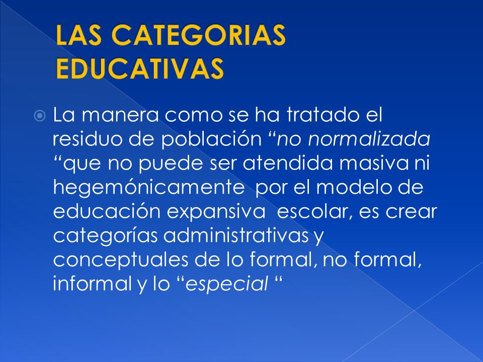 LAS CATEGORIAS EDUCATIVAS