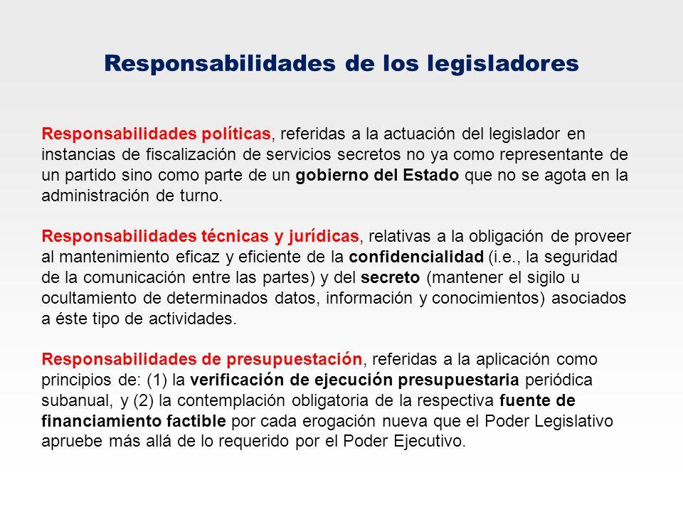 Responsabilidades de los legisladores