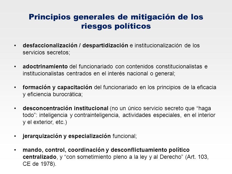 Principios generales de mitigación de los riesgos políticos